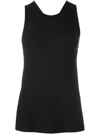 top sleeveless top cross sleeveless back black