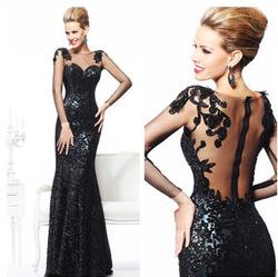 2013 nouvelle mode à manches longues sexy en dentelle noire sirène, étage longueur robes de soirée des femmes dans de sur Aliexpress.com