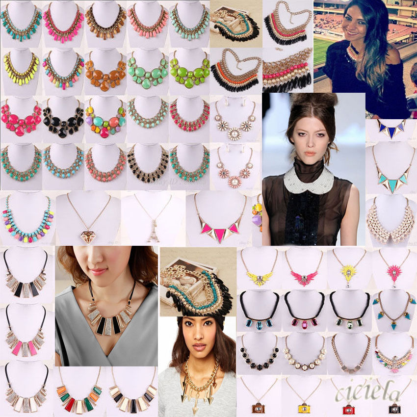 European luxury mixed style bib choker pearl crystal big gem necklace statement