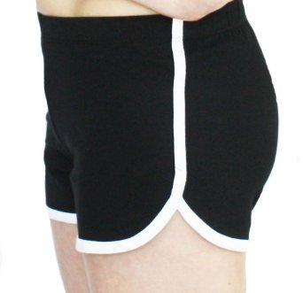 Amazon.com: Cotton Spandex Retro Solid Color Shorts with White Accent Trim (Large, Black): Clothing