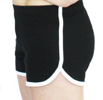 Amazon.com: Cotton Spandex Retro Solid Color Shorts with White Accent Trim (Large, Black): Clothing