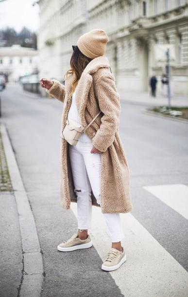 fashionlandscape blogger coat shoes jeans hat bag beanie teddy bear coat sneakers crossbody bag