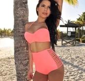 swimwear,bikini,high waisted bikini,pink bikini,retro swimsuit,beach,miami