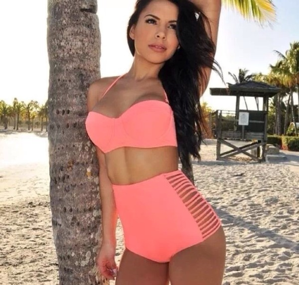 swimwear bikini high waisted bikini pink bikini retro swimsuit beach miami