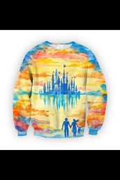 sweater,colored,rainbow,neverland,disneyland,castle,disney sweater