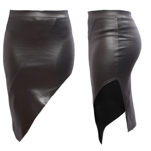 SIDE SPLIT LEATHER LOOK SKIRT - Strawberry Boutique
