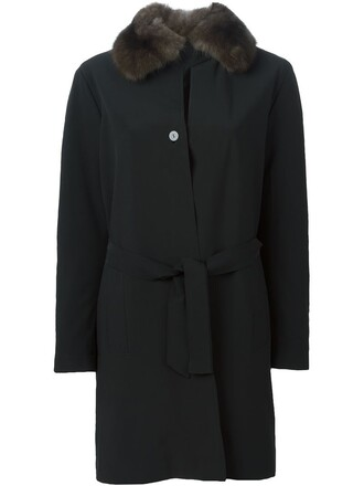 coat fur collar coat fur women black