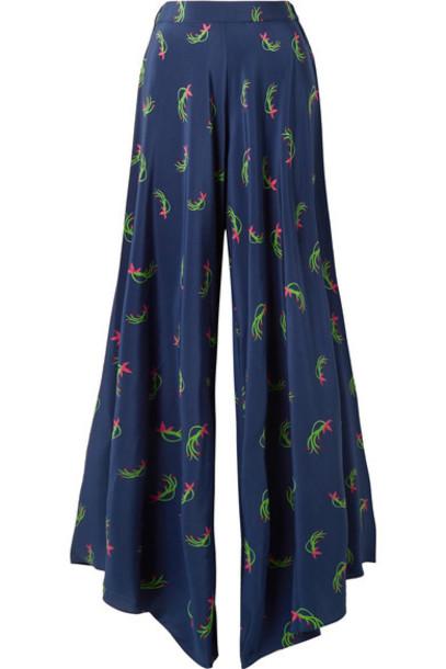 pants wide-leg pants floral print blue silk bright