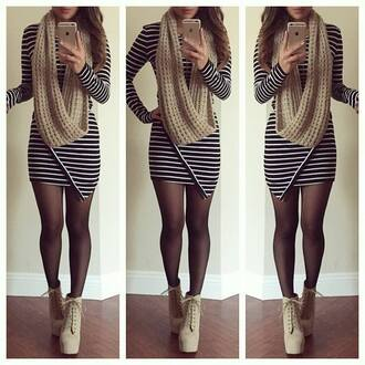 dress tight stripes black white bodycon short mini long sleeves