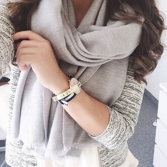 jewels watch scarf grey sweater top fashion whole outfit sweater