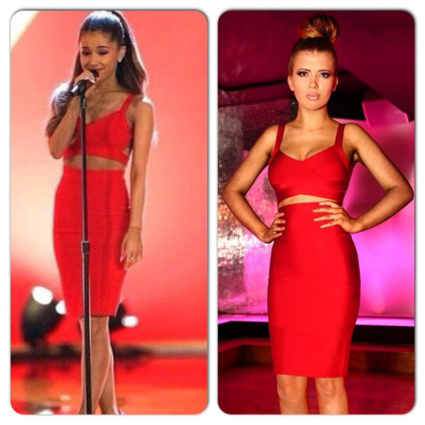 Dress: red bandage two piece ariana grande - Wheretoget