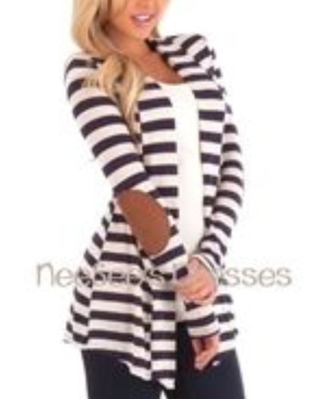 cardigan stripes elbow patch