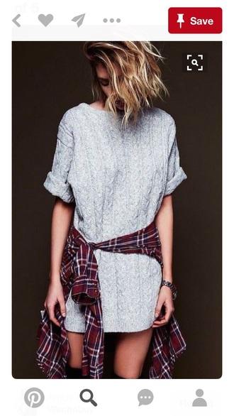 dress grey dress knit knitted sweater