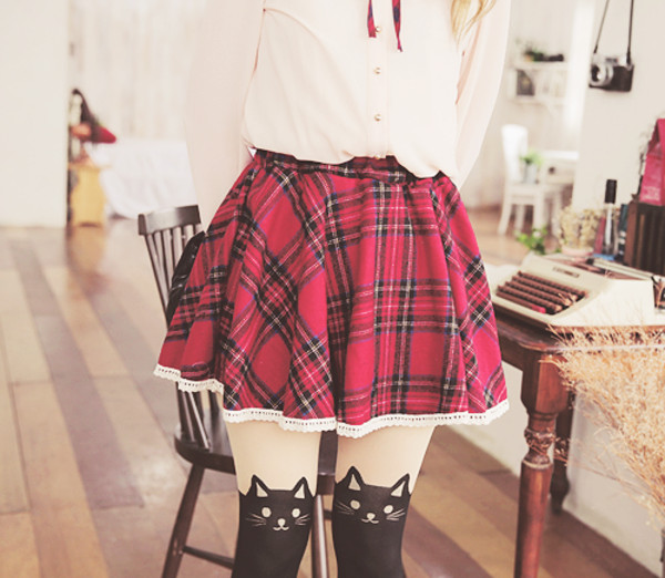 skirt plaid plaid skirt red leggings