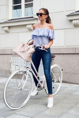 shoes off the shoulder top jeans beige bag white sneakers blogger sunglasses
