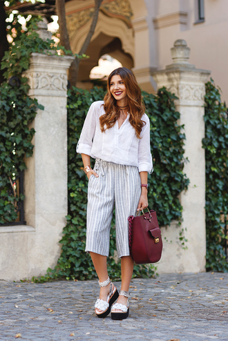 the mysterious girl blogger shoes bag sunglasses jewels white top long sleeves stripes burgundy choker necklace see through wedges absolutemarket black choker kurt geiger