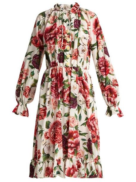 Dolce & Gabbana - Silk Crepe De Chine Rose And Peony Print Dress - Womens - White Multi