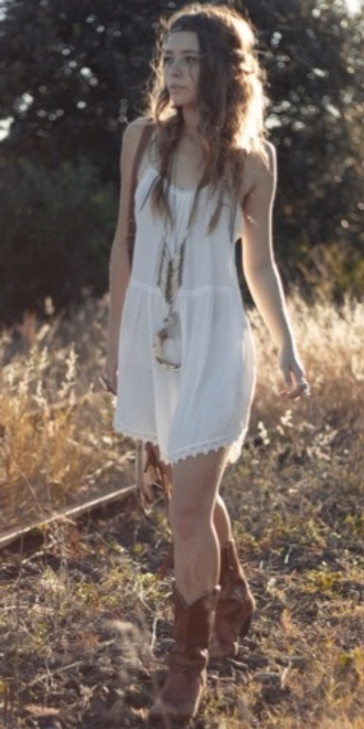 dress nature cute dress cute boho boho dress bohemian hippie vintage flowy dress fashion outfit clothes white dress white boots relaxed summer dress summer style pinterest polyvore tumblr spring festival shoes