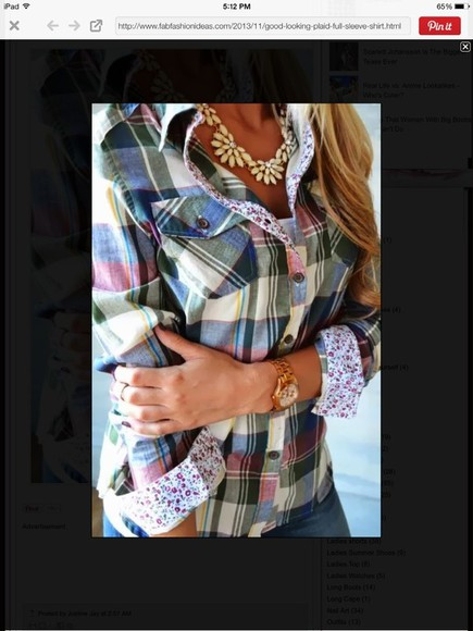 floral blouse plaid spring easter summer button up long sleeve flower