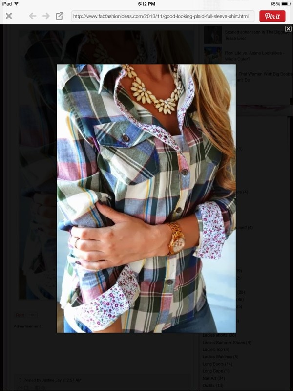 blouse plaid spring summer button up long sleeves flowers floral