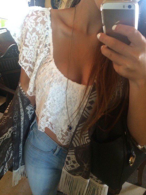 blouse white lace cami ruffle scarf