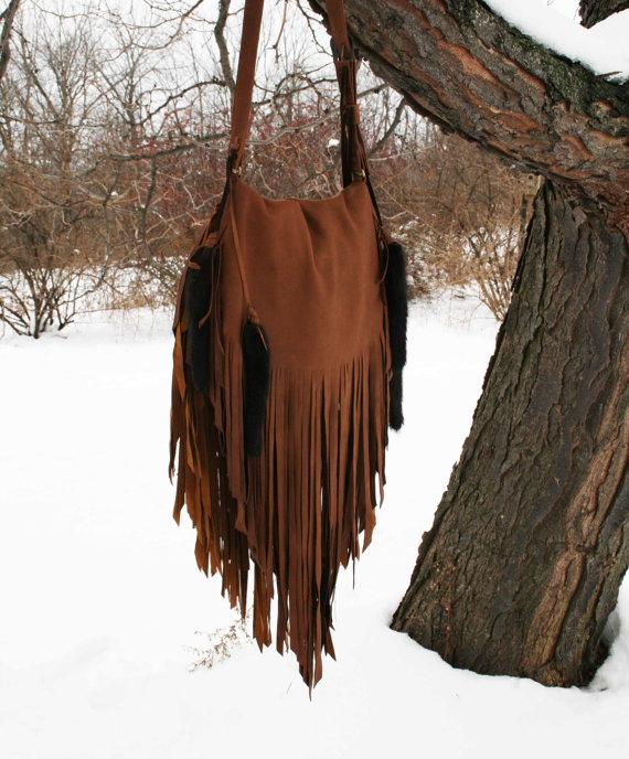 Caramel Deer Skin Fringe Bag w/ sable tails by confettijulie