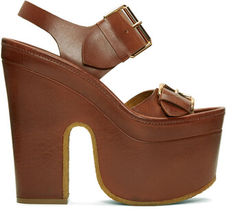 brown platform buckles sandals brown shoes