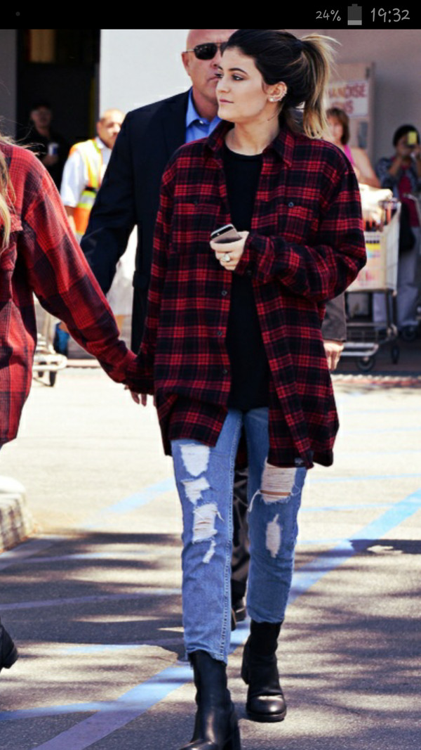 From harry molly oversized plaid shirt for Oversized red plaid shirt