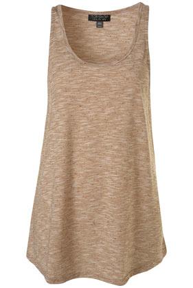 Dark camel speckle jersey boyfriend vest