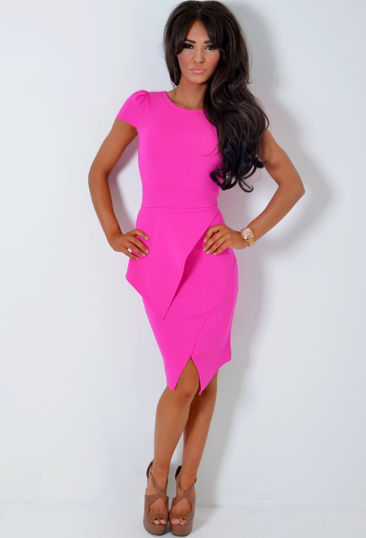 5d2b9237c124 Ayzoe Magenta Pink Split Hem Peplum Bodycon Midi Dress