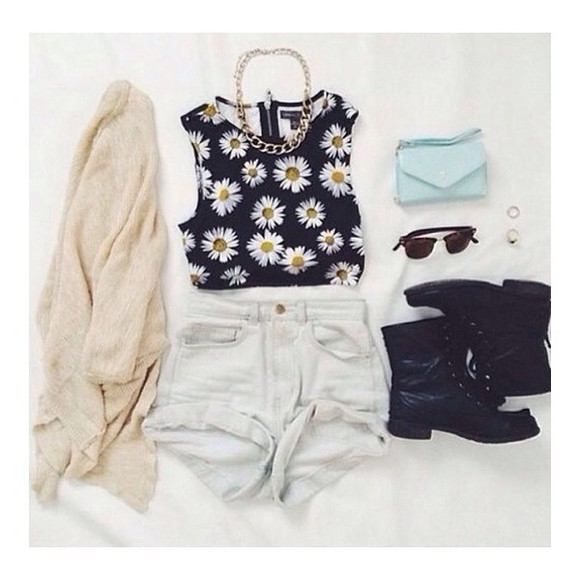 shirt daisy black daisys sunglasses, beige, cardigan, tumblr, pretty denim jean shorts