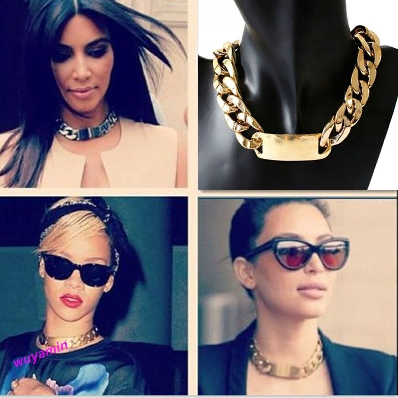 Popular Aluminium Alloy Light Gold Plated Chunky Curb Chain Link ID Bib Necklace | eBay