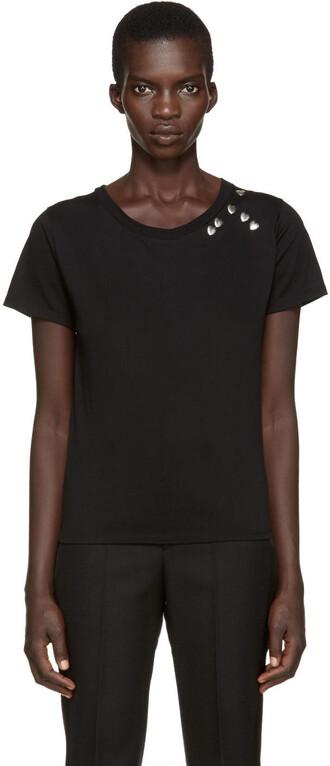 t-shirt shirt studs heart black top