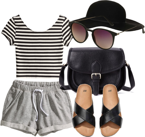 grey lazy day grey shorts joggers lazy day shoes stripes striped shirt round sunglasses black white black and white purse sandals h&m jeffrey campbell bag sunglasses shorts hat