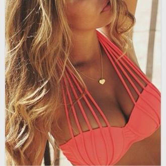 swimwear coral pink halter