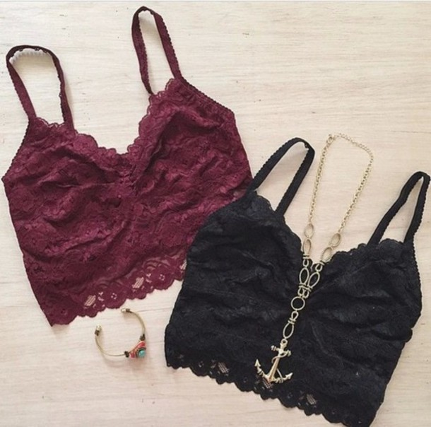 tank top burgundy top bustier high waisted skirt black crop top lace top