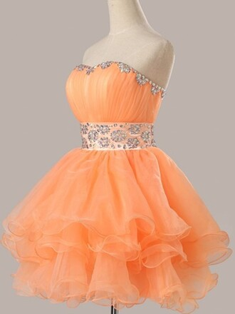 dress prom prom dress organza puffy orange orange dress short short dress mini mini dress crystal belt lovely wow pretty dressofgirl bridesmaid cute cute dress sexy sexy dress fashion style stylish sparkle shiny hot vogue coral coral dress