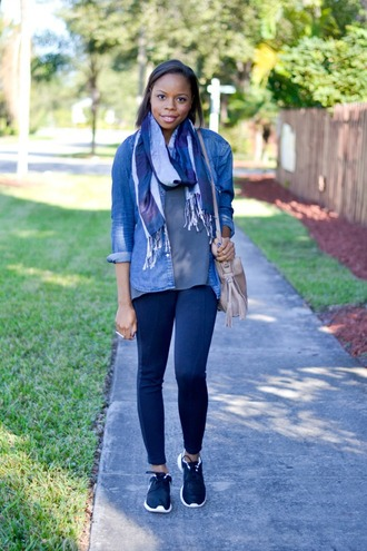cha cha the fashion genius blogger scarf casual denim shirt sneakers