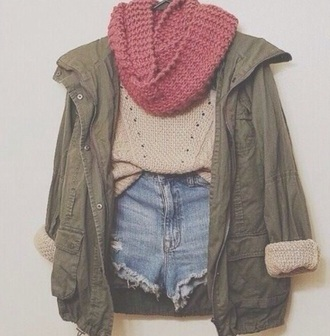 jacket tumblr outfit scarf shorts beige dress sweater style outfit casual dress casual t-shirts casual chic