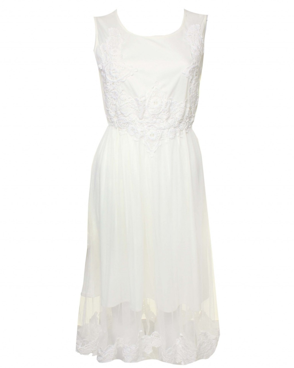 LOVE Ivory Mesh Midi Dress With Crochet Top