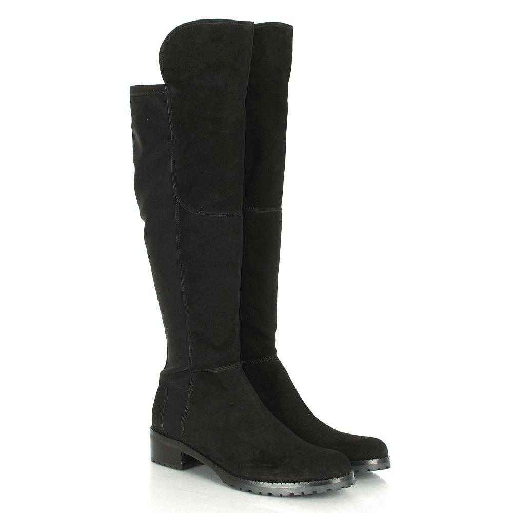 K&S Black Suede 41 24160 Women's Flat Knee Boot