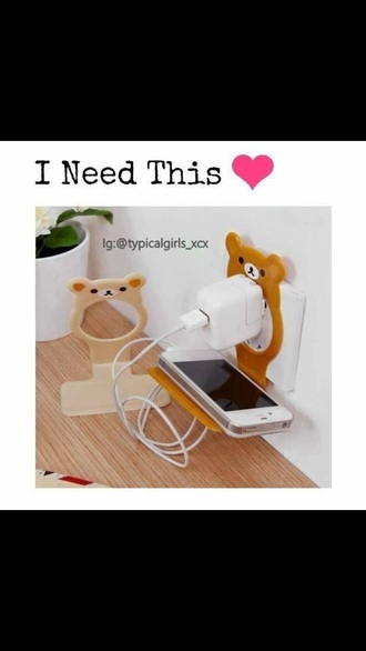 home accessory technology phone phone charger teddy bear cute kawaii kawaii accessory pretty accessories accessory home decor phone holder