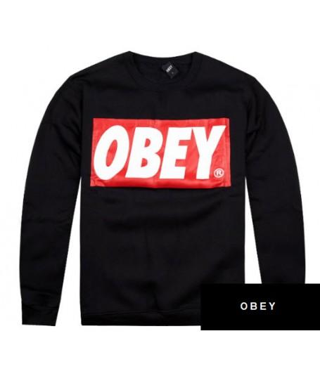 obey propaganda big box logo pullover sweatshirt black. Black Bedroom Furniture Sets. Home Design Ideas