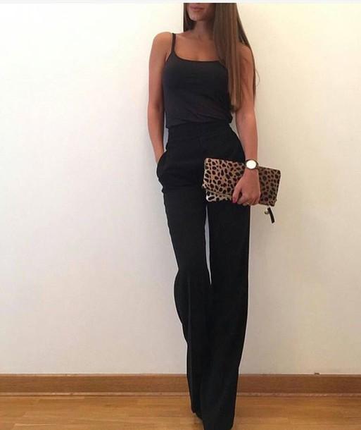 Jumpsuit black black jumpsuit leopard print clutch tumblr style fashion - Wheretoget