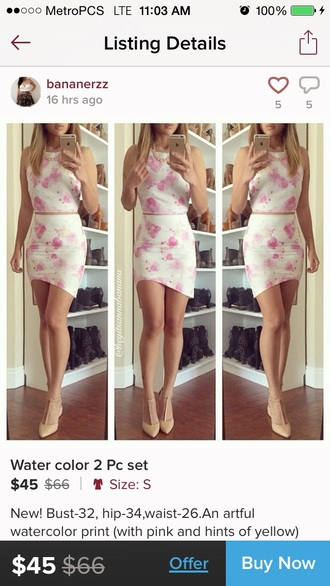 jumpsuit lulus pink white pink and white floral dress blouse skirt two-piece crop tops style