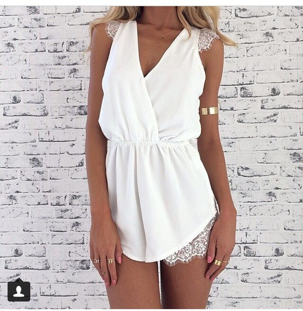 jumpsuit dress white dress tanned girl gold jewels