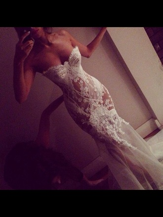 dress lace dress wedding dress fitted dress beatiful white