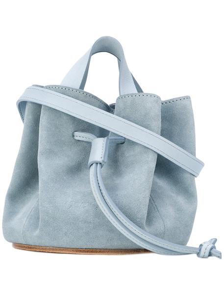 women bag bucket bag leather blue
