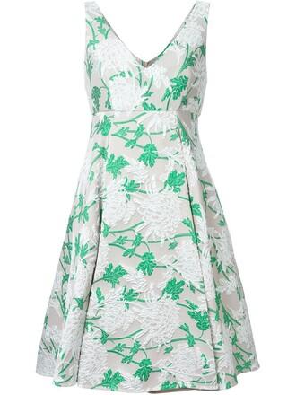 dress women floral nude silk