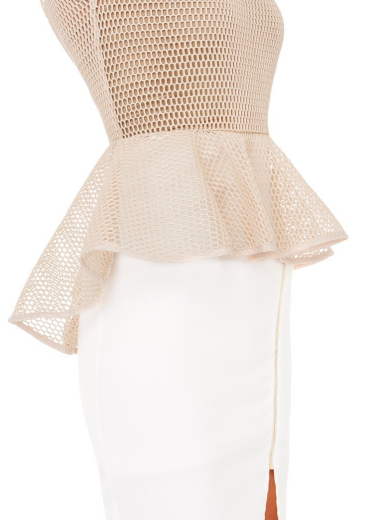Beige Sleeveless Hollow Gauze Ruffle Top